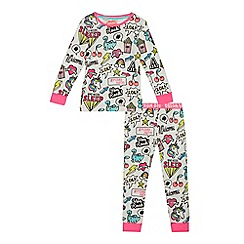 bluezoo - Girls' white badge print pyjama set