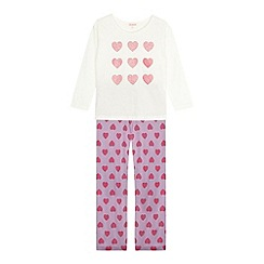 bluezoo - Girl's pink heart print pyjama set