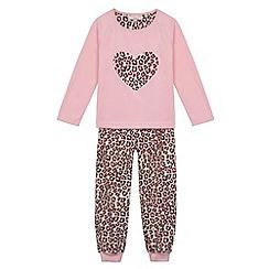 bluezoo - Girl's pink leopard print heart pyjama set
