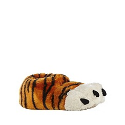 bluezoo - Boy's orange tiger foot slippers