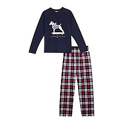 J by Jasper Conran - Designer boy's navy dog print and checked pyjamas set