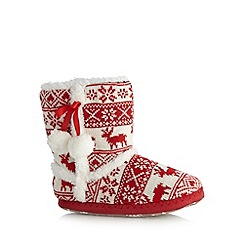 bluezoo - Girls' red Fairisle slipper boots