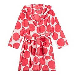 bluezoo - Girl's pink spotted fleece dressing gown