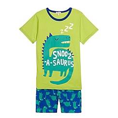 bluezoo - Boy's green dinosaur printed pyjama set