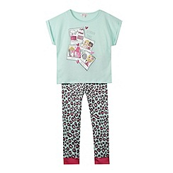 bluezoo - Girl's aqua 'Sleepover Snaps' pyjama set
