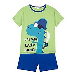 bluezoo - Boy's green 'captain lazy bones' pyjama set