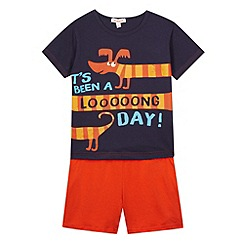 bluezoo - Boy's navy sausage dog printed pyjama set