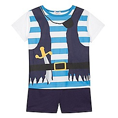 bluezoo - Boy's blue pirate t-shirt and shorts set