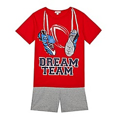 bluezoo - Boy's red 'dream team' printed pyjama set