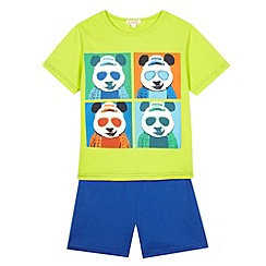 bluezoo - Boy's green polaroid panda print pyjama set