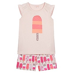 bluezoo - Girl's light pink ice lolly print pyjama set
