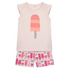bluezoo - Girl's light pink ice lolly print pyjama set