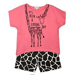 bluezoo - Girl's pink giraffe print pyjama set
