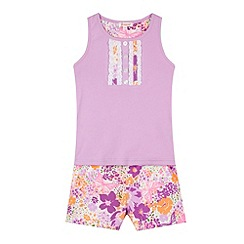 bluezoo - Girl's lilac floral pyjama set