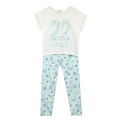 bluezoo - Girl's aqua 'Tired' top and hareem pyjamas