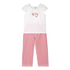 J by Jasper Conran - Designer girl's pink mouse embroidered pyjama set