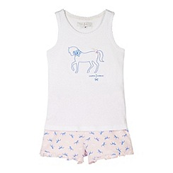 J by Jasper Conran - Designer girl's white horse print pyjama set