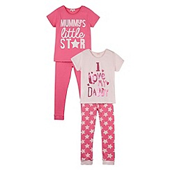 bluezoo - Girl's pack of two  'Mummy's Star' and 'Love Daddy' pyjama sets