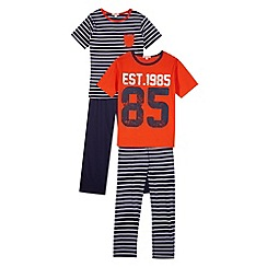 bluezoo - Pack of two boy's navy mix and match pyjamas