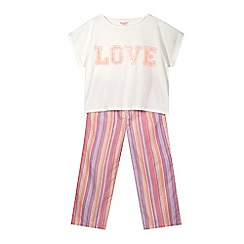 bluezoo - Girl's pink 'Love' pyjama set