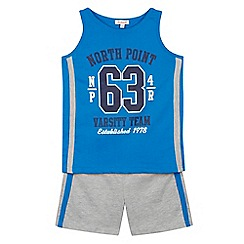 bluezoo - Boy's two piece blue vest top and shorts