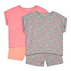 bluezoo - Pack of two girl's pink spotted t-shirts and shorts