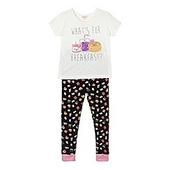 bluezoo - Girl's white 'What's for breakfast' pyjama set