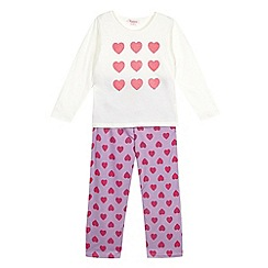 bluezoo - Girl's pink heart top and trousers pyjama set