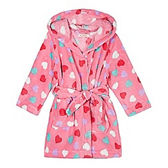 bluezoo - Girl's pink heart print hooded fleece dressing gown