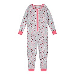 bluezoo - Girl's grey hearts and stars onesie
