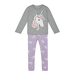 bluezoo - Girl's grey unicorn pyjama set