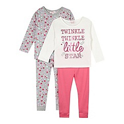 bluezoo - Pack of two girl's pink 'Twinkle Twinkle' pyjama set