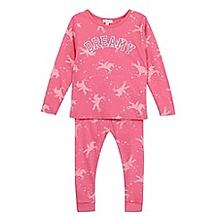bluezoo - Girl's pink 'Dreamy' unicorn pyjama set