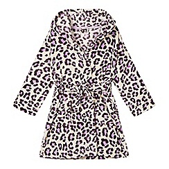bluezoo - Girl's purple leopard print fleece dressing gown