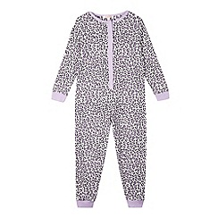 bluezoo - Girl's lilac leopard print onesie