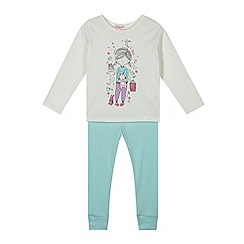 bluezoo - Girl's aqua girl print top and leggings pyjama set