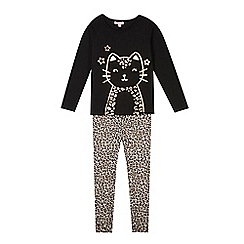 bluezoo - Girl's black cat printed pyjama set