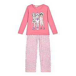 bluezoo - Girl's pink 'girls night' printed pyjama set