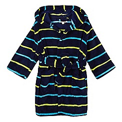 bluezoo - Boy's navy striped hooded dressing gown