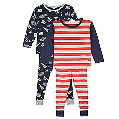 bluezoo - Pack of two boy's navy striped varsity pyjama tops and bottoms