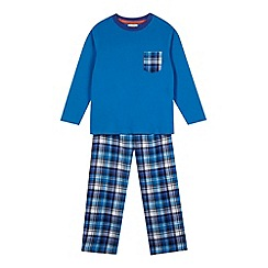 bluezoo - Boy's navy checked pocket top and bottoms pyjama set