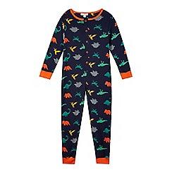 bluezoo - Boy's navy dinosaur print onesie