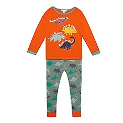 bluezoo - Boy's orange dinosaur print pyjama set