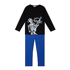 bluezoo - Boy's black skeleton pyjama set