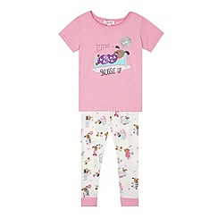 bluezoo - Girl's pink 'Snuggle Up' dog pyjama set
