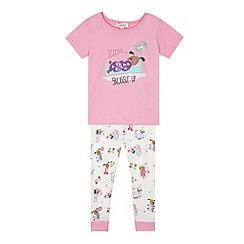 bluezoo - Girl's pink 'Snuggle Up' dog pyjama set