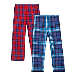 bluezoo - Pack of two boys' blue and red checked pyjama trousers