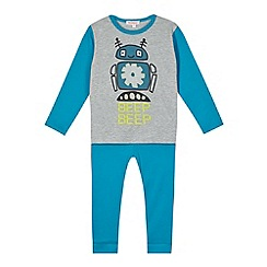 bluezoo - Boy's grey robot pyjama set