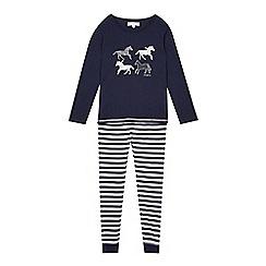 J by Jasper Conran - Designer girl's navy horse print pyjama set