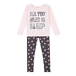 bluezoo - Girl's pink heart printed pyjama set